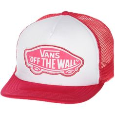 VANS BEACH GIRL TRUCKER CAP LUSCIOUS PINK (€24) ❤ liked on Polyvore featuring accessories, hats, patch hat, snap hat, beach trucker hat, oversized hat and beach hat