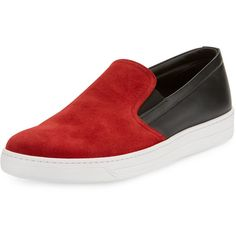 Prada Linea Rossa Contrast Suede-Top Slip-On Sneaker (18.215 UYU) ❤ liked on Polyvore featuring men's fashion, men's shoes, men's sneakers, shoes, men, sneakers, zapatos hombre, mens slip on shoes, mens slip on sneakers and prada sport mens shoes
