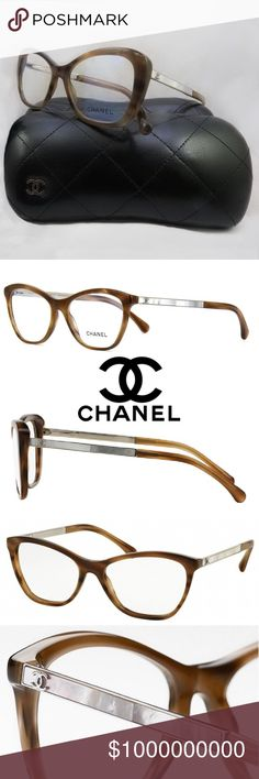 Chanel 5076H 1101 Mother Of Pearl Eyeglasses Style is 5076 H. Mother of Pearl CC Logo Inlaid. As seen on numerous Celebrities. This pair is BROWN plastic with clear lenses and the White Mother of Pearl CC Logo. Measurements 61-16-120. Comes in original Chanel Case.  Floor model, light scratches is expected. Comes with Chanel Case. 100% authentic with Chanel logo etched into each lens. CHANEL Accessories Glasses