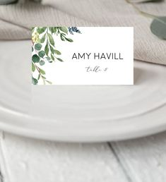 This green leaf wedding place card features a mixture of watercolor botanic Printable Wedding Invitations, Wedding Stationery, Invitation Cards, Diy Reception Cards, Reception Ideas, Wedding Reception, Top Wedding Trends, Wedding Ideas, Diy Wedding