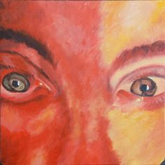 """Selfie in Red and Orange Original Acrylic Painting 12"""" x 12"""" by dragonbee on Etsy"""