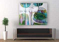 Original Abstract contemporary painting Just say by MirnaSisul, $750.00