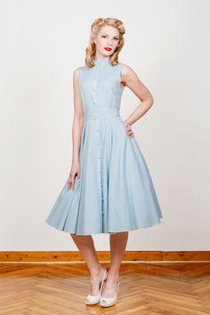 50er Jahre Kleid Martha hellblau lang