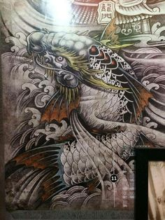 Koi Dragon Tattoo, Dragon Fish, Koi Fish Tattoo, Cool Forearm Tattoos, Arm Tattoos For Guys, Body Art Tattoos, Mago Tattoo, Chinese Letter Tattoos, Koi Tattoo Sleeve