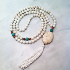 108 Magnesite mala beads. Mala beads for bliss and relaxing. Gemstone mala beads for relaxation, clarity, nourishment, and contentment