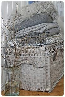shabby white painted baskets, do this to my baskets in various shades of white and greys I love this for those cold winter nights Decoration Gris, Greige, Vibeke Design, Cushions, Pillows, Shades Of Grey, 50 Shades, Warm And Cozy, Cozy Winter