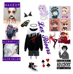 """""""Lex Rivers (Homestuck OC(???))"""" by anime-loverx on Polyvore featuring Aime and Converse"""