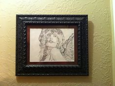 """Framed 11""""x16"""" Angel charcoal pencil on paper on Etsy, $75.00"""
