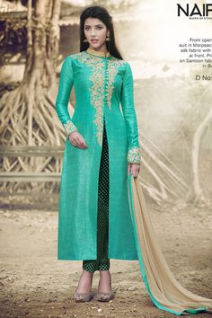 Green Handloom Silk Straight Cut Salwar Suit