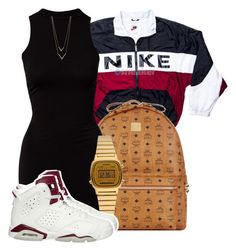 """"""""""" Tomorrow is the first blank page of a 365 page book. Write a good one."""" - Brad Paisley"""" by mindlesspolyvore ❤ liked on Polyvore featuring NIKE, MCM, River Island, Casio and Jennifer Zeuner"""