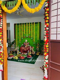Diwali Decorations At Home, Ganpati Decoration At Home, Home Wedding Decorations, Backdrop Decorations, Festival Decorations, Flower Decorations, Diwali Craft, Diwali Diy, Gauri Decoration
