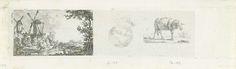 Frédéric Théodore Faber | Gezicht op Brussel, portretstudie en een schaap, Frédéric Théodore Faber, 1842 | Drie voorstellingen op één blad. Links: een landschap met twee molens en op de voorgrond een visser. In het midden: een jongenskop. Rechts: een schaap.