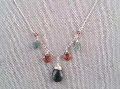 Handmade Necklace with Moss Aquamarine, Pink Andalusite by Indiana jewelry artist, Amber Bryce.