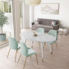 Shop CosmoLiving by Cosmopolitan Amari Oval Faux Marble dining Table - Overstock - 30104700 Small Space Living, Living Spaces, Faux Marble Dining Table, Small Dinning Room Table, Small Dining Table Apartment, Dining Rooms, Idee Diy, Table And Chairs, Home Furnishings