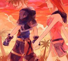 Sora x Kairi - Kingdom Hearts Sokai~ Kingdom Hearts Ii, Kingdom Hearts Characters, Sora And Kairi, The Time Machine, Dearly Beloved, The Past, Romantic, Fan Art, Disney