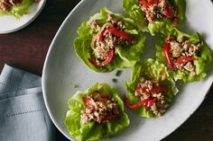 2 points Our Sweet and Spicy Pork Wraps recipe is a sweet and spicy lettuce wrap appetizer. Crunchy veggies and tender pork all wrapped in Bibb lettuce make for an easy and fresh appetizer. Pork Recipes, Asian Recipes, Cooking Recipes, Healthy Recipes, Ethnic Recipes, Asian Foods, Healthy Meals, Healthy Eating, Easy Chicken Lettuce Wraps