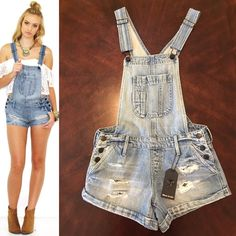 Black Orchid The Short Overalls in Living Daylight As seen on Kendall Jenner! New with tags distressed overalls shorts. From Black Orchid Jeans. Perfect for summer days!!! ☀️ Black Orchid Jeans Overalls