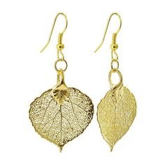 24 KT Yellow Gold Plated over REAL 23mm x 22mm Aspen Leaf Dangle Earrings with French Hook Back Finding Gem Avenue. $20.99. French Wire Hook Dangle Earrings. 24 KT Yellow Gold over Natural Aspen Leaf!. Gem Avenue sku # LGEG003