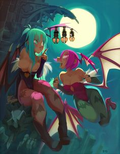 Lilith and Morrigan Fanart (from Darkstalkers ~ Vampire Savior) by Xaxaxa.
