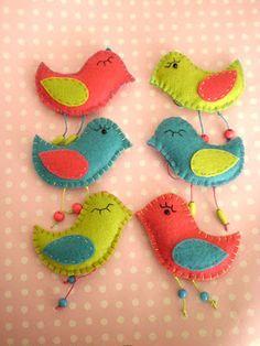 Felt birds in bright colors