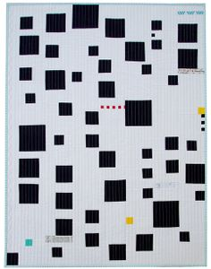 These random-sized and placed black squares on a white background grab my interest- especially with the occasional bright color!!