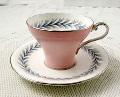 Aynsley Tea Cup and Saucer, Corset Shape, Pink with Chevron Border, Vintage Bone China, Teacup and Saucer