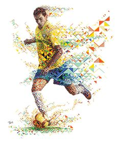 A fractal mosaic portrait of the Brazilian footballer Paulo Henrique Ganso for Gatorade Fuel Forward advertising campaign. Soccer Art, Football Art, Kids Soccer, Football Players, Soccer Books, Club Soccer, Module Design, Sports Advertising, Advertising Campaign
