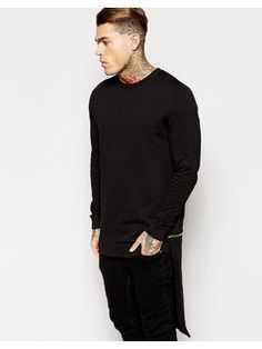 ASOS Longline Sweatshirt With Zip Off Hem Panel - Black