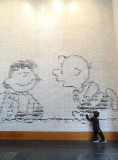 Charles Shultz Museum  Looking closer you start to realize that the image is made up of strips - over 3500 of them! #Peanuts #CharlieBrown #Lucy