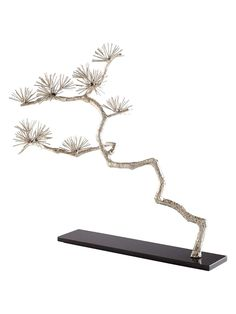 "Cyan Design Holly Tree Sculpture  Holly Tree Sculpture:   Iron sculpture  Granite base    Measurements:  33½"" W x 5½"" D x 32¾"" H   Material:  Iron and granite   Care:  Wipe with a damp cloth   Brand:  Cyan Design   Origin:  Imported"