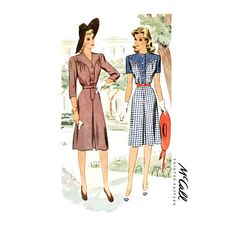 1940s Dress Pattern Bust 32 UNCUT McCall 4683 Shirtwaist, Day Dress, Inverted Pleat, A Line, Western Womans Vintage Sewing Pattern di CynicalGirl su Etsy https://www.etsy.com/it/listing/180885497/1940s-dress-pattern-bust-32-uncut-mccall
