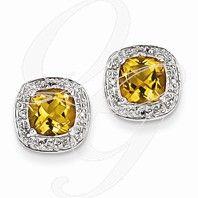 Sterling Silver Rhodium Citrine & Diamond Post Earrings