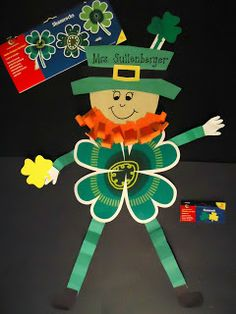 "Check out how Michelle turned CTP's Shamrock 10"" Jumbo Designer Cut-Outs into her Lucky Leprechaun. #stpatricksday #Leprechaun #holidaycrafts"