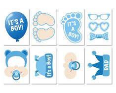 Baby Shower Photo Props It's a Boy Photo Booth Props image 1 Photobooth Baby Shower, Baby Shower Photo Props, Baby Shower Niño, Elegant Baby Shower, Baby Shower Photos, Unique Baby Shower, Baby Shower Parties, Shower Party, Dibujos Baby Shower