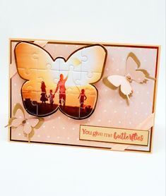 Create unique and personalized keepsake cards and gifts using our fabulous Shaped Jigsaw Dies. Perfect for transforming photos and artwork into jigsaw puzzles. Project by Jacqui Ault You Give Me Butterflies, Crafters Companion Cards, Jigsaw Puzzles, Birthday Cards, Give It To Me, Card Making, June, Paper Crafts, Butterfly