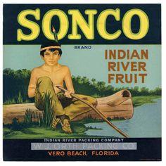 SONCO Vintage Vero Beach Florida Citrus Crate Label, wear