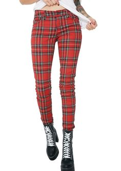 Tripp NYC Tartan Plaid Pants cuz you're always down for whatever's clever. These printed pants have a slim fit, classikk five pocket design, and a zipper fly closure.
