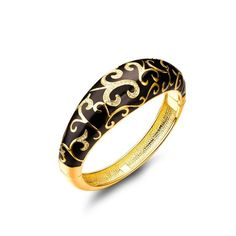 BEST GIFTS 'Spring of Versailles' Black Enamel Gold Pattern Crystal Women Bracelet. Imagine the ripples that fan out in the guise of intricately-designed masterpiece. For most unforgettable moment!