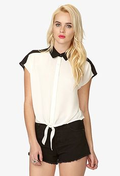 Checkered Sleeve Georgette Top | FOREVER 21 - 2025100501