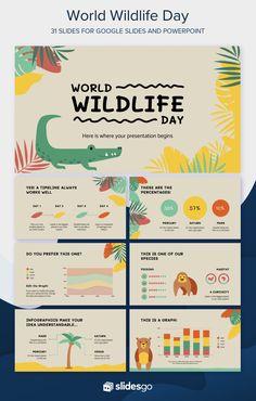 Powerpoint Slide Designs, Powerpoint Design Templates, Powerpoint Background Design, Flyer Template, Presentation Layout, Presentation Templates, Kids Graphic Design, Wildlife Day, Life Hacks For School