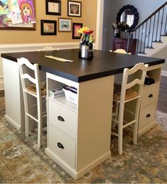 She built four nightstands and put them in the dining room! Now her kids use the furniture she made every day after school!