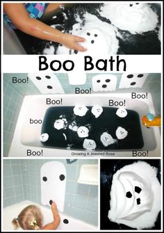Halloween bath time fun: use food dye for bath water and shaving cream for ghost