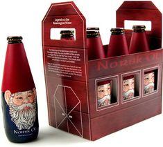 """Norsk Ol"" Brand Norwegian Beer Bottle Gnomes! Amazing packaging design by Ryanna Christianson. (Look: http://popsop.com/33136)"