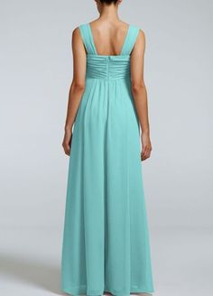 A long soft silhouette translates to a truly elegant look that your bridesmaids will absolutely love!  Sleeveless bodice with cap sleeves features sweetheart neckline with ruched twist front detail.  Floor length soft crinkle chiffon easily flows and gives this dress an ethereal feel.  Fully lined. Back zip. Imported Polyester. Dry clean only.
