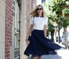 navy pleated midi skirt ivory short sleeve sweater