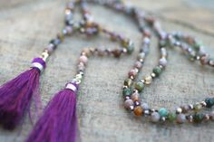 Jasper Gemstone Hand Knotted Purple Silk Tassel Hand by MindyG