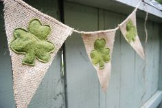vintage felt pennant bunting | Small St. Patrick's Day Burlap by SweetSaraLyn on Etsy