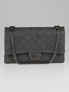Chanel Grey 2.55 Reissue Quilted Grained Calfskin Leather Classic 226 Flap Bag - Handbags - 10056129 sick bag!!!