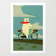 Yeti Taking a Ride Art Print by Yetiland - $18.00
