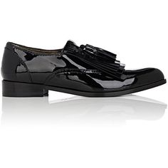 Lanvin Women's Kiltie Patent Leather Loafers (€470) ❤ liked on Polyvore featuring shoes, loafers, black, loafer shoes, patent leather shoes, black shoes, slip-on shoes and black slip-on shoes